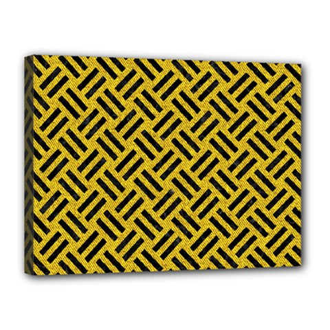 Woven2 Black Marble & Yellow Denim Canvas 16  X 12  by trendistuff