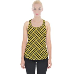 Woven2 Black Marble & Yellow Denim Piece Up Tank Top by trendistuff