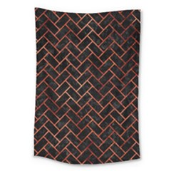 Brick2 Black Marble & Copper Paint (r) Large Tapestry by trendistuff