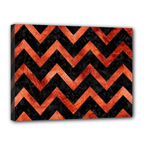 Chevron9 Black Marble & Copper Paint (r) Canvas 16  X 12  by trendistuff
