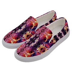 Mystic Red Blue Ornament Pattern Men s Canvas Slip Ons by Costasonlineshop