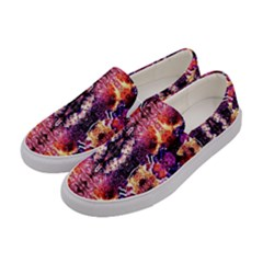 Mystic Red Blue Ornament Pattern Women s Canvas Slip Ons by Costasonlineshop