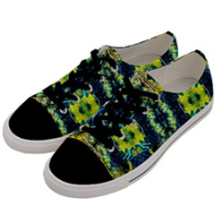 Mystic Yellow Green Ornament Pattern Men s Low Top Canvas Sneakers by Costasonlineshop