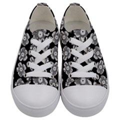 White Gray Flower Pattern On Black Kids  Low Top Canvas Sneakers