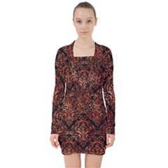 Damask1 Black Marble & Copper Paint (r) V Neck Bodycon Long Sleeve Dress