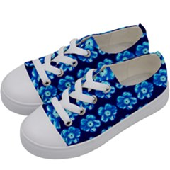 Turquoise Blue Flower Pattern On Dark Blue Kids  Low Top Canvas Sneakers by Costasonlineshop