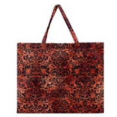 Damask2 Black Marble & Copper Paint Zipper Large Tote Bag by trendistuff