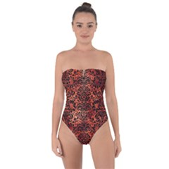 Damask2 Black Marble & Copper Paint Tie Back One Piece Swimsuit