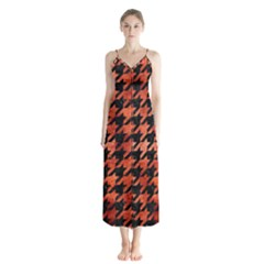 Houndstooth1 Black Marble & Copper Paint Button Up Chiffon Maxi Dress
