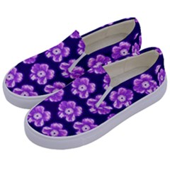 Purple Flower Pattern On Blue Kids  Canvas Slip Ons by Costasonlineshop