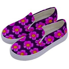 Pink Flower Pattern On Wine Red Kids  Canvas Slip Ons by Costasonlineshop