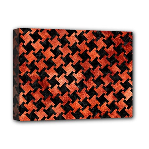 Houndstooth2 Black Marble & Copper Paint Deluxe Canvas 16  X 12   by trendistuff