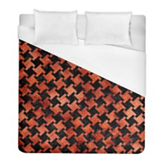 Houndstooth2 Black Marble & Copper Paint Duvet Cover (full/ Double Size) by trendistuff