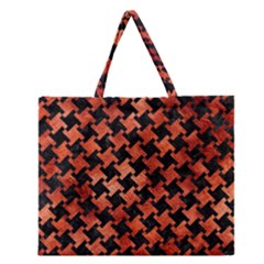Houndstooth2 Black Marble & Copper Paint Zipper Large Tote Bag by trendistuff