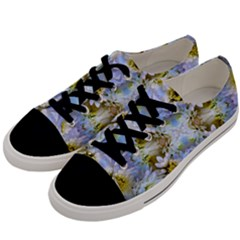 Blue Yellow Flower Girly Pattern, Men s Low Top Canvas Sneakers by Costasonlineshop