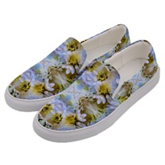 Blue Yellow Flower Girly Pattern, Men s Canvas Slip Ons by Costasonlineshop