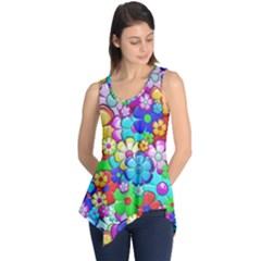 Flowers Ornament Decoration Sleeveless Tunic