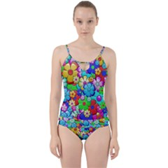 Flowers Ornament Decoration Cut Out Top Tankini Set by Celenk