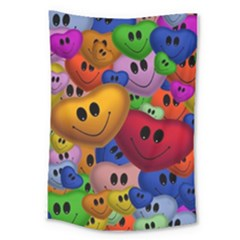 Heart Love Smile Smilie Large Tapestry by Celenk