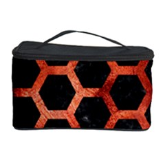 Hexagon2 Black Marble & Copper Paint (r) Cosmetic Storage Case