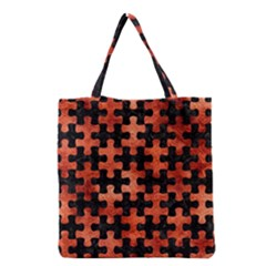 Puzzle1 Black Marble & Copper Paint Grocery Tote Bag by trendistuff