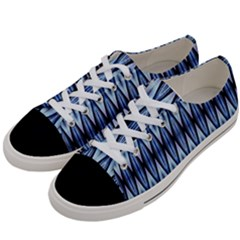 Blue White Diamond Pattern Women s Low Top Canvas Sneakers by Costasonlineshop