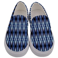 Blue White Diamond Pattern Men s Canvas Slip Ons