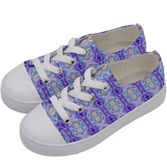 Light Blue Purple White Girly Pattern Kids  Low Top Canvas Sneakers by Costasonlineshop