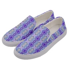 Light Blue Purple White Girly Pattern Men s Canvas Slip Ons by Costasonlineshop