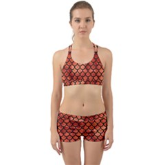 Scales1 Black Marble & Copper Paint Back Web Sports Bra Set