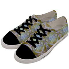 Beautiful White Yellow Rose Pattern Men s Low Top Canvas Sneakers by Costasonlineshop
