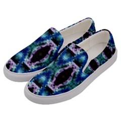Blue, Light Blue, Metallic Diamond Pattern Men s Canvas Slip Ons by Costasonlineshop