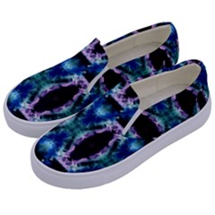Blue, Light Blue, Metallic Diamond Pattern Kids  Canvas Slip Ons by Costasonlineshop