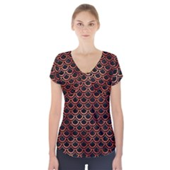 Scales2 Black Marble & Copper Paint (r) Short Sleeve Front Detail Top by trendistuff