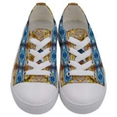 Gold And Blue Elegant Pattern Kids  Low Top Canvas Sneakers