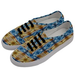 Gold And Blue Elegant Pattern Men s Classic Low Top Sneakers by Costasonlineshop