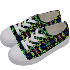 Cool Green Blue Yellow Design Kids  Low Top Canvas Sneakers by Costasonlineshop