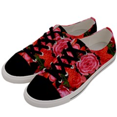 Beautiful Red Roses Men s Low Top Canvas Sneakers by Costasonlineshop