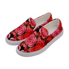 Beautiful Red Roses Women s Canvas Slip Ons by Costasonlineshop