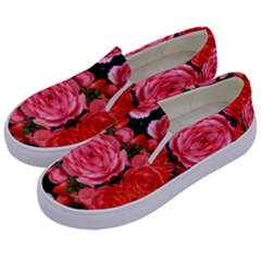 Beautiful Red Roses Kids  Canvas Slip Ons by Costasonlineshop