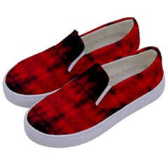 Red Black Gothic Pattern Kids  Canvas Slip Ons by Costasonlineshop