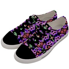 Purple Green Flowers With Green Men s Low Top Canvas Sneakers by Costasonlineshop
