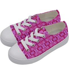 Pretty Pink Flower Pattern Kids  Low Top Canvas Sneakers