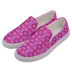 Pretty Pink Flower Pattern Men s Canvas Slip Ons