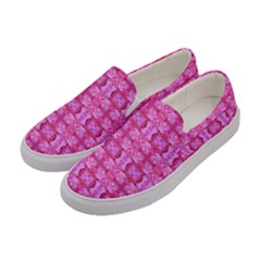 Pretty Pink Flower Pattern Women s Canvas Slip Ons
