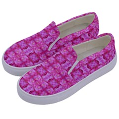Pretty Pink Flower Pattern Kids  Canvas Slip Ons
