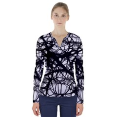 Neurons Brain Cells Brain Structure V-Neck Long Sleeve Top