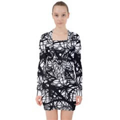 Neurons Brain Cells Brain Structure V-neck Bodycon Long Sleeve Dress