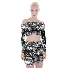 Neurons Brain Cells Brain Structure Off Shoulder Top with Mini Skirt Set