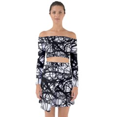 Neurons Brain Cells Brain Structure Off Shoulder Top with Skirt Set